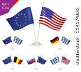 set   table stand with flags.... | Shutterstock .eps vector #554174632