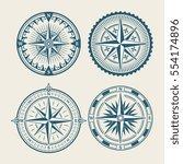vintage marine compass logo set.... | Shutterstock .eps vector #554174896
