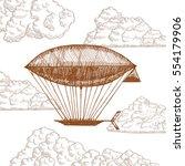 zeppelin in clouds on sky hand...   Shutterstock .eps vector #554179906