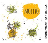 Mojito cocktail on the watercolor splash. Hand drawn vector illustration. Can be used for menu, bar, cafe, restaurant, poster, banner, sticker, placard and other.