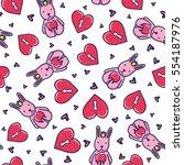 doodles cute seamless pattern.... | Shutterstock .eps vector #554187976