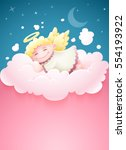pretty angel baby with wings... | Shutterstock .eps vector #554193922