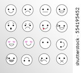 set smiley icons for... | Shutterstock .eps vector #554195452