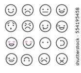 smiley emoticons line icons. ... | Shutterstock .eps vector #554195458
