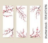 set of banners with blossom...