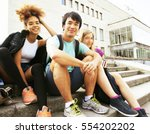 cute group of teenages at the... | Shutterstock . vector #554202202