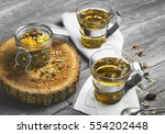 two glass cups of  drink herbal ... | Shutterstock . vector #554202448