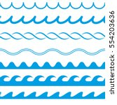 set of water seamless lines on... | Shutterstock .eps vector #554203636