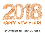 2018 happy new year greeting... | Shutterstock . vector #554207056