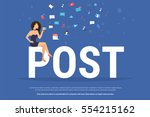 woman sitting with smartphone... | Shutterstock .eps vector #554215162