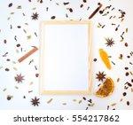 empty natural wooden poster... | Shutterstock . vector #554217862