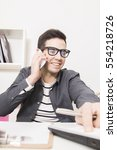 businessman freelance speaking... | Shutterstock . vector #554218726