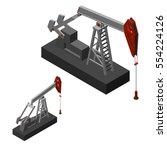 oil pump jack.isolated on white ... | Shutterstock .eps vector #554224126