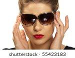 yong  beautiful woman  wearing  ... | Shutterstock . vector #55423183