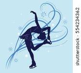 silhouette of the figure skater ... | Shutterstock .eps vector #554234362