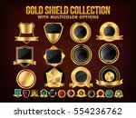 collection of golden shield ... | Shutterstock .eps vector #554236762