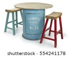 vintage barrel table with two... | Shutterstock . vector #554241178