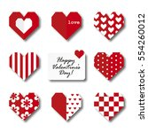 paper style 8 hearts   a card | Shutterstock .eps vector #554260012