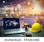 smart refinery factory and... | Shutterstock . vector #554261482