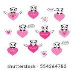 set of cute pandas and hearts....