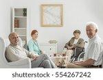 recreation room at nursing home ... | Shutterstock . vector #554267242