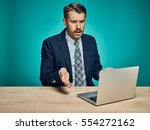 the sad and puzzled young man... | Shutterstock . vector #554272162