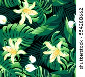 tropical lush yellow flowers...   Shutterstock . vector #554288662