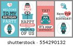 set of 6 cute creative cards... | Shutterstock .eps vector #554290132