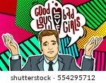 man in pop art comics style.... | Shutterstock .eps vector #554295712
