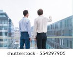 two business people talking and ... | Shutterstock . vector #554297905