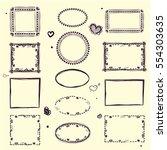 hand drawn boho style frames.... | Shutterstock .eps vector #554303635