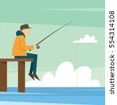fishing adult fisherman fishing ... | Shutterstock .eps vector #554314108