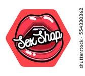color vintage sex shop emblem | Shutterstock .eps vector #554330362