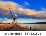 crane in harbour on river... | Shutterstock . vector #554331526