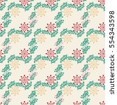 seamless floral pattern of... | Shutterstock .eps vector #554343598