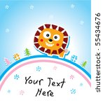 merry christmas lion | Shutterstock .eps vector #55434676