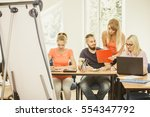 teaching concept. female young... | Shutterstock . vector #554347792