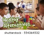 Small photo of School children eat healthy alternative meals