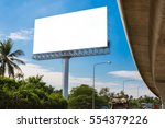 blank billboard with clouds and ... | Shutterstock . vector #554379226