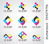 cmyk art logo vector set design