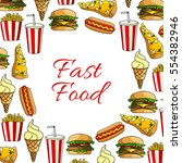 fast food lunch dishes poster... | Shutterstock .eps vector #554382946