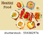 seafood and meat dishes with... | Shutterstock .eps vector #554382976