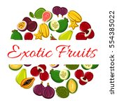 exotic fruit circle poster.... | Shutterstock .eps vector #554385022