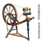 old wooden spinning wheel...   Shutterstock . vector #554386246