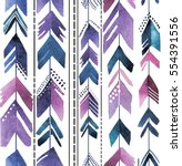 Seamless pattern with arrows. Stylish background in bohemian style. The texture of the paint. Multi-colored pens. | Shutterstock vector #554391556