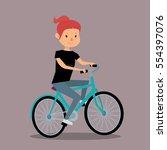 Cartoon Happy Girl Riding A...