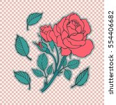rose tattoo set. sticker  patch ... | Shutterstock .eps vector #554406682