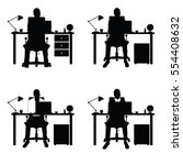 man silhouette set with laptop... | Shutterstock .eps vector #554408632