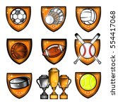sport set equipments ball ... | Shutterstock .eps vector #554417068