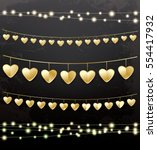 garlands with golden hearts.... | Shutterstock .eps vector #554417932